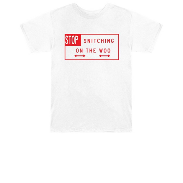 Pop Smoke x Vlone Stop Snitching T-Shirt White/Red