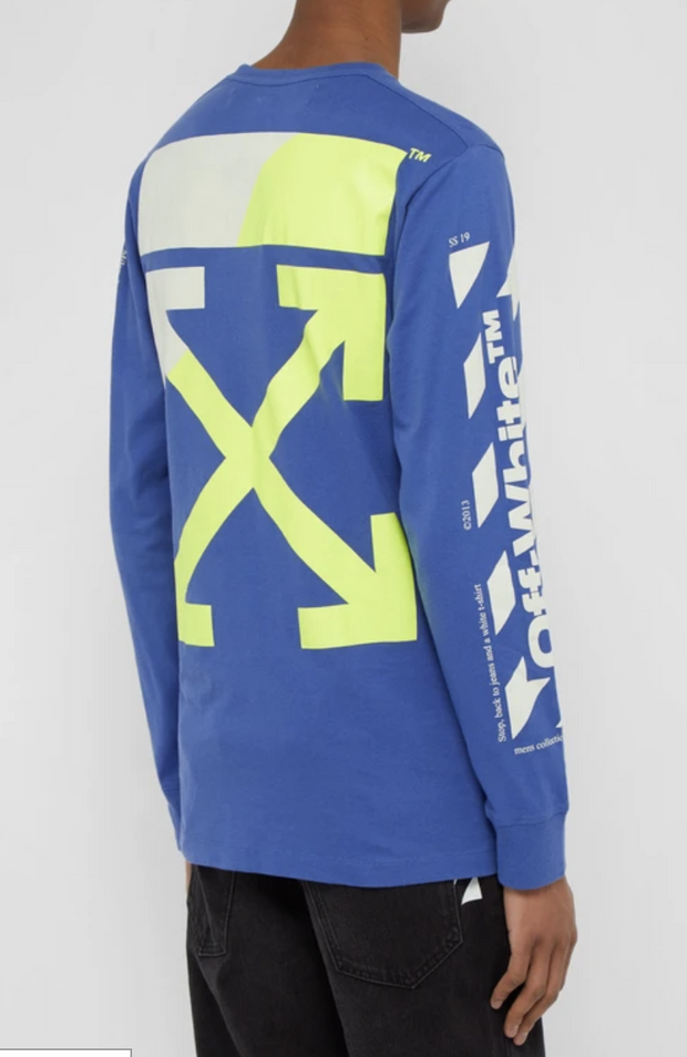 OFF-WHITE Logo-print cotton longsleeve blue