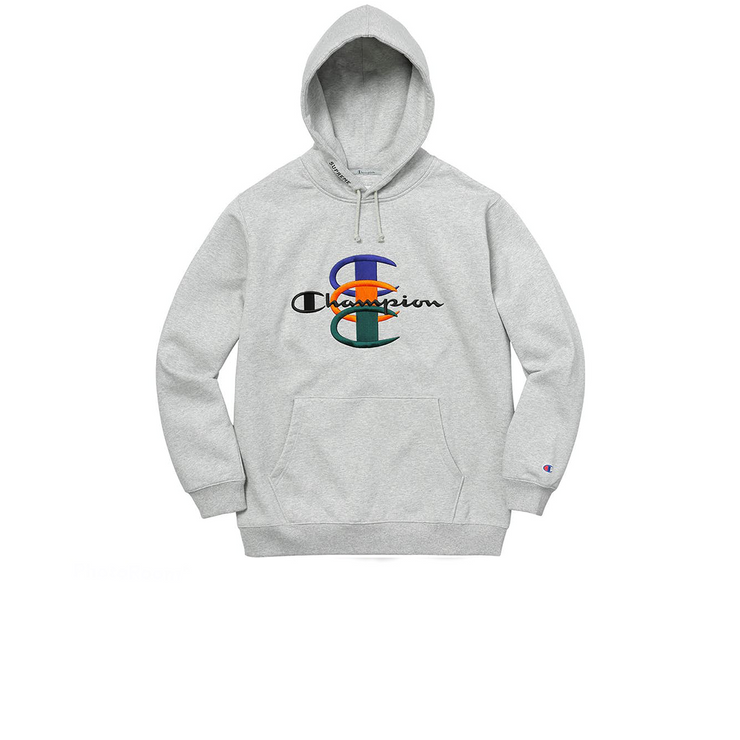 Supreme Champion Stacked C Hooded Sweatshirt Heather Grey