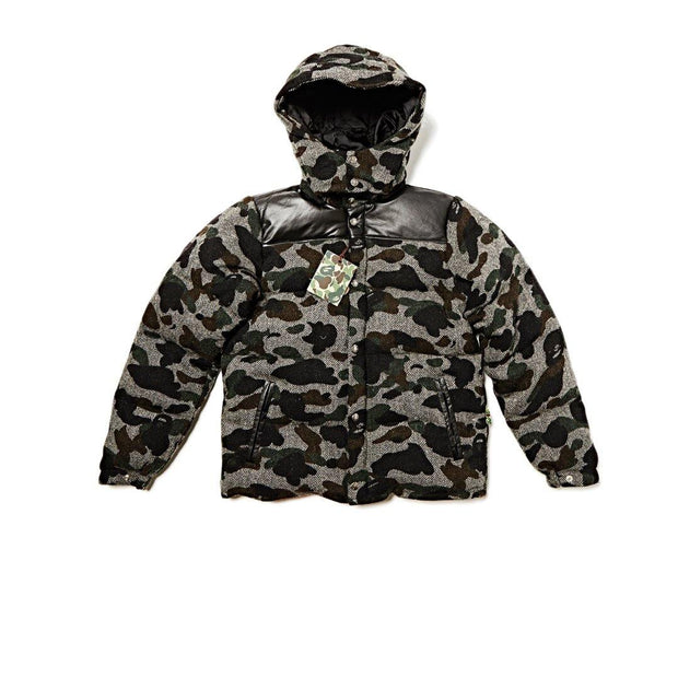 BAPE Ape Down winter wool tweed camo jacket