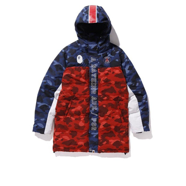 BAPE x PSG Long Down Jacket Navy