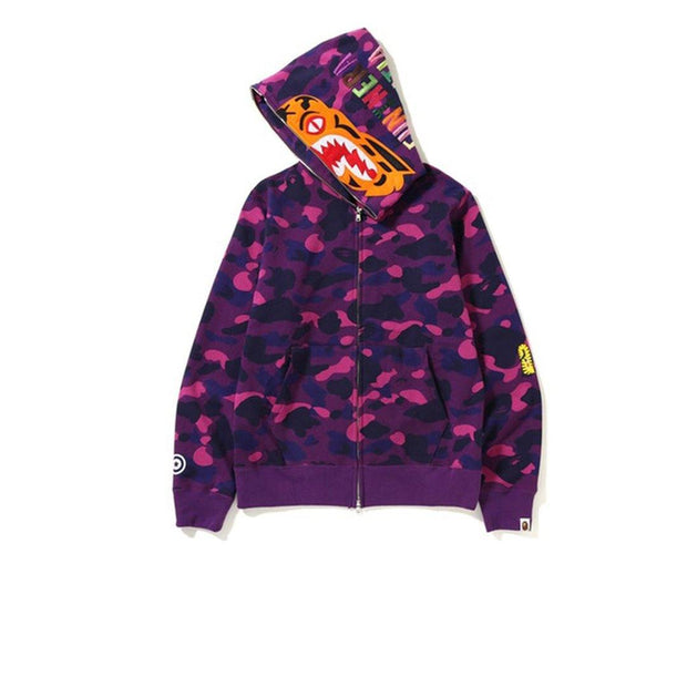 BAPE Color Camo Tiger Full Zip Hoodie Purple