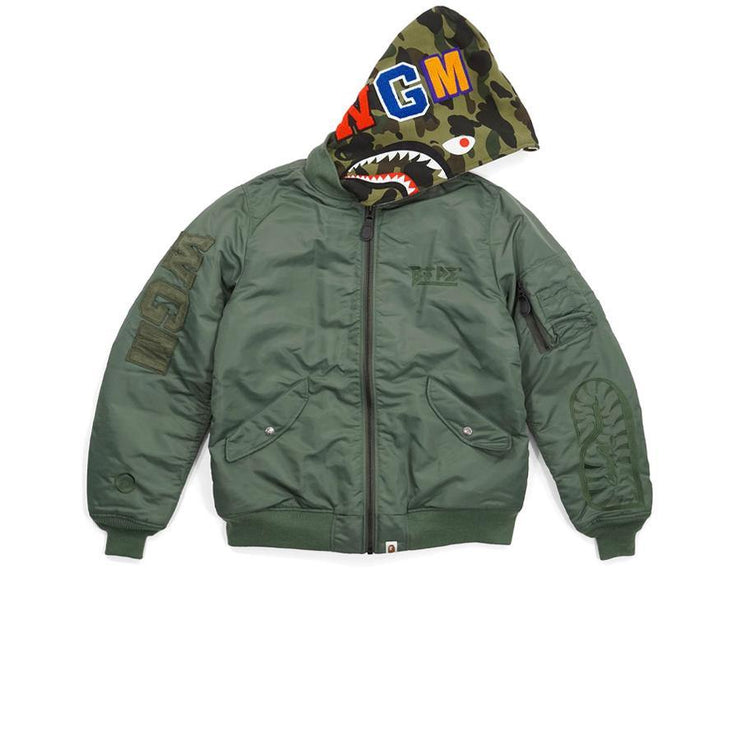 Bape Military Camo Convertible Shark MA1 Bomber Jacket