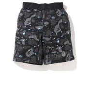BAPE A Bathing Ape Space Camo Sweat Short Black