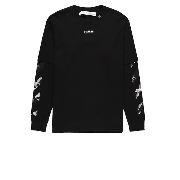 OFF-WHITE CARAVAGGIO SQUARE DOUBLE SLEEVE T-SHIRT