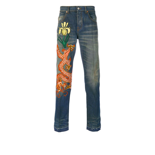 Gucci Stone Washed Denim Dragon Jeans