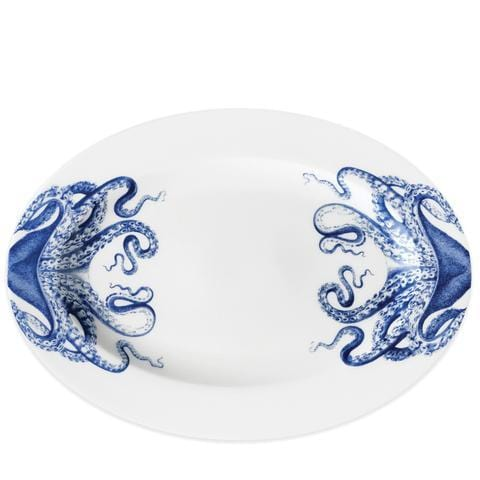 Blue Lucy Rimmed Oval Platter - 14