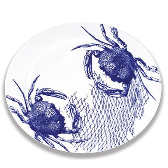 Blue Crab & Net Oval Rimmed Platter 16""