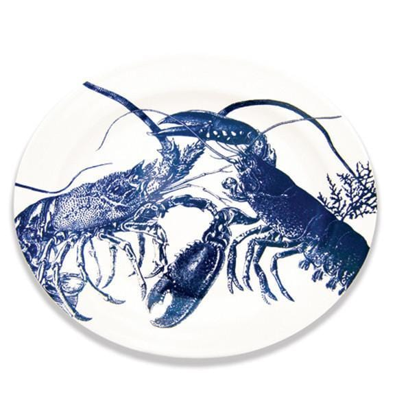 Blue Lobster Oval Rimmed Platter 16""