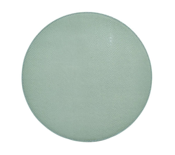 Faux Shagreen Round Placemat Seafoam