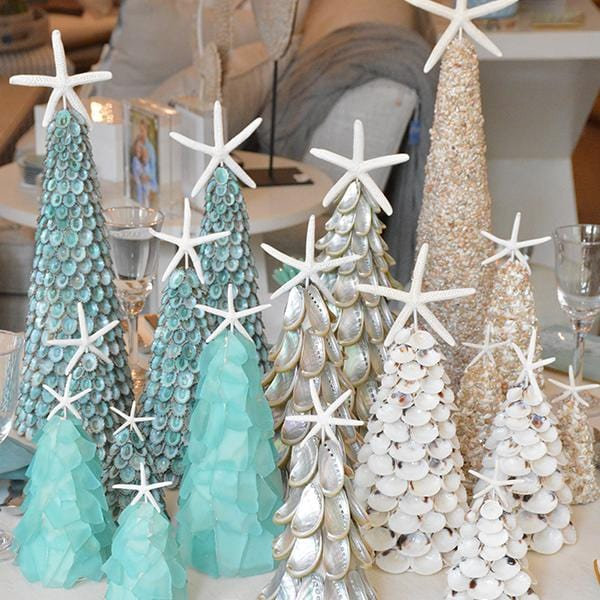 Tiny White Sea Shells Holiday Tree