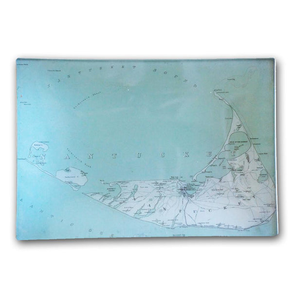 Nantucket Antique Map Decoupage Plate