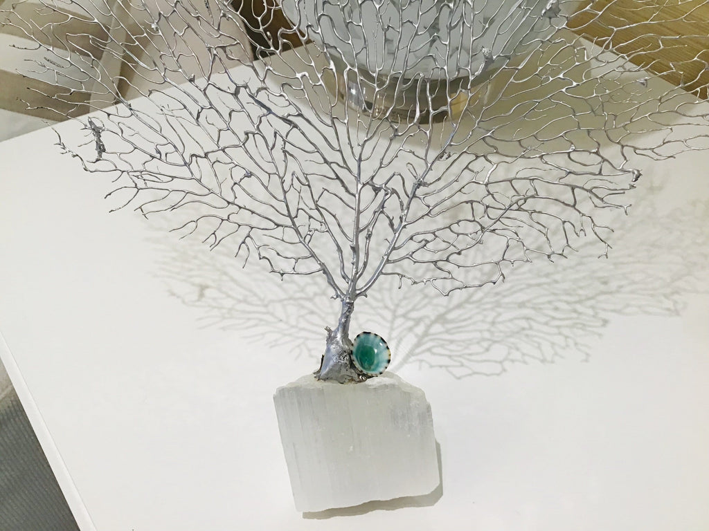 Silver Gilt Sea Fan on Selenite Chrystal Base Limpet Accent - Small