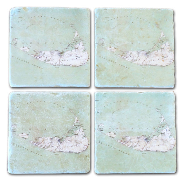 Nantucket Map Marble Coasters Set/4