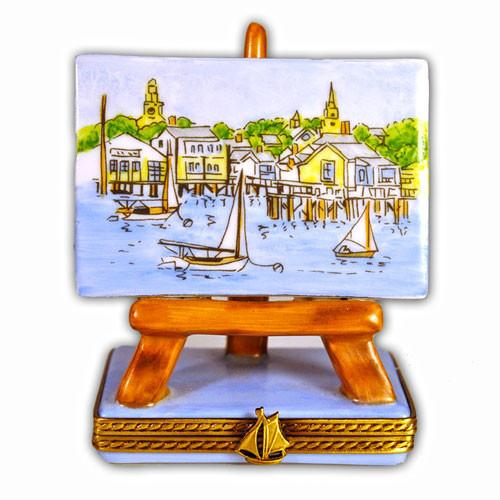 Nantucket Harbor on Easel Limoges Box