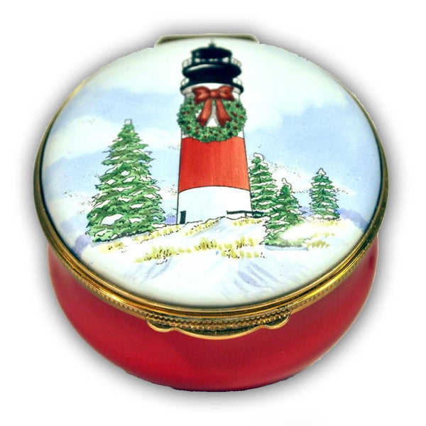 Christmas Sankaty Lighthouse Pill Box (Retired)
