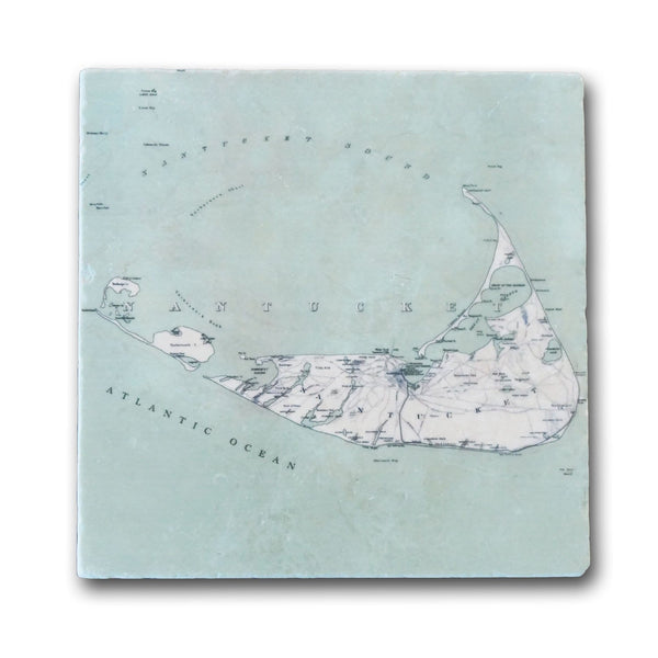 Antique Nantucket Map Marble Trivet