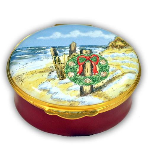 Nantucket Beach Wreath Christmas Pill Box (Retired)