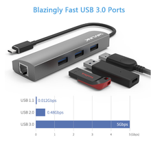 Last inn bildet i Galleriet, WavLink USB-C 4 port USB HUB - Gigabit Ethernet