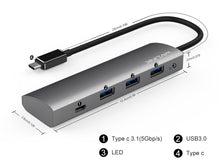 Last inn bildet i Galleriet, WavLink USB-C 4 port USB HUB