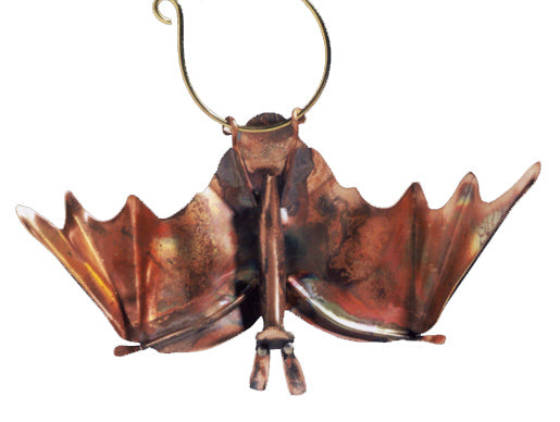 Bat, Wings Open Copper Sculpture by Haw Creek Forge