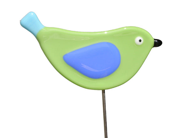 Bird Green - Fused Glass Plant Stake