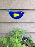 Dark Blue Bird - Fused Glass Plant Stake by Glass Works Northwest
