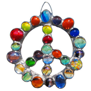 Peace Sign - Glass Gem Ornament by Diane Markin