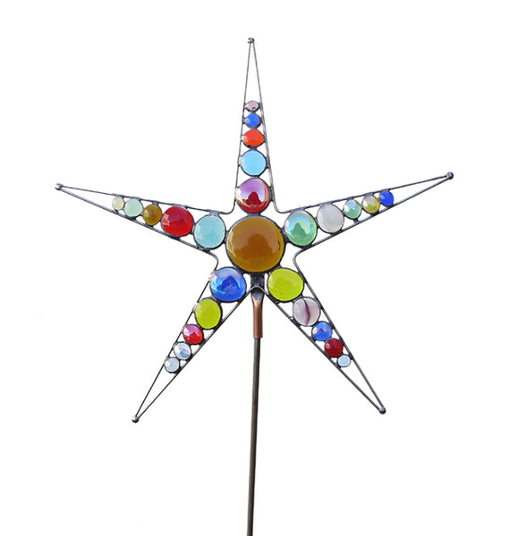 Star - Stained Glass Garden Sculpture by Diane Markin
