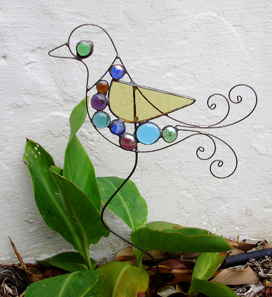 Bird - Stained Glass Garden Sculpture by Diane Markin