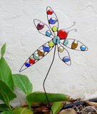 Dragonfly - Stained Glass Garden Sculpture by Diane Markin