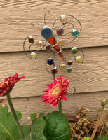Butterfly Plant Stake - Stained Glass Garden Sculpture by Diane Markin