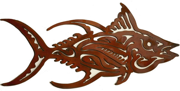Scroll Tuna Fish, Metal Wall Hanging Sculpture Art by Elizabeth Keith Designs