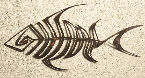 Bone Fish, Metal Wall Hanging Sculpture Art by Elizabeth Keith Designs
