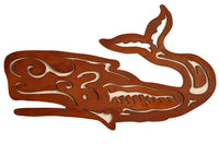 Scroll Whale, Metal Wall Hanging Sculpture Art by Elizabeth Keith Designs