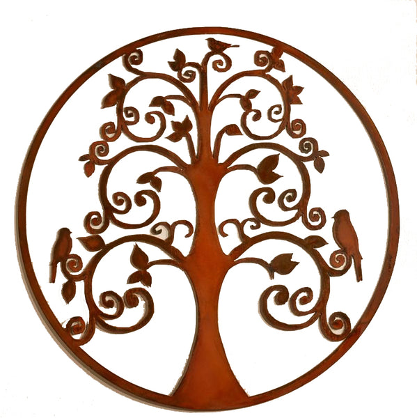Birds In Tree Of Life, Metal Wall Hanging Sculpture Art by Elizabeth Keith Designs
