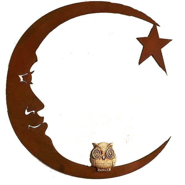 Owl On Moon, Metal Wall Hanging Sculpture Art by Elizabeth Keith Designs
