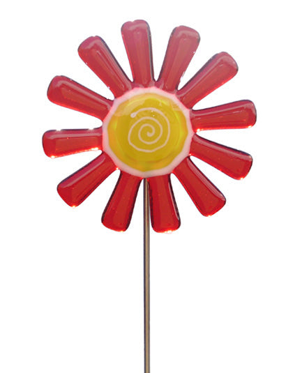 Daisy Flower RED - Fused Glass Plant Stake