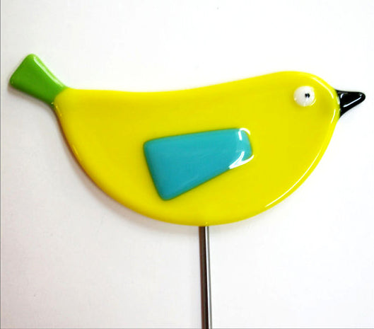 Bird - Yellow - Fused Glass Plant Stake by Glass Works Northwest