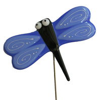 Dragonfly, Blue - Fused Glass Plant Stake by Glass Works Northwest