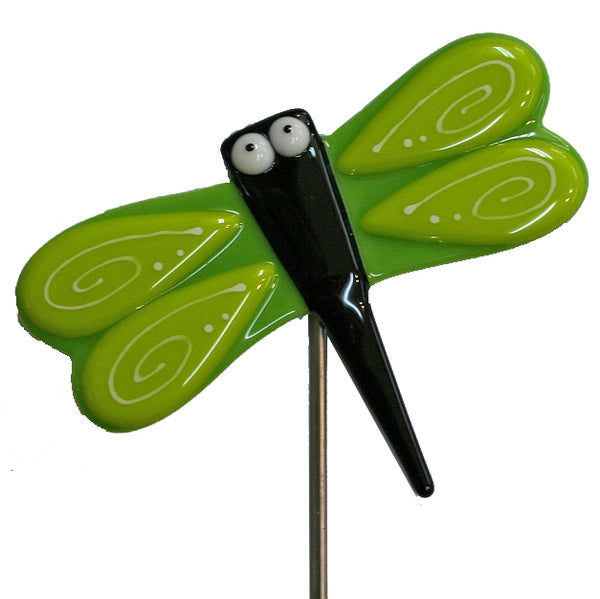 Dragonfly, Green - Fused Glass Plant Stake by Glass Works Northwest