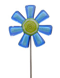Flower, Blue - Fused Glass Plant Stake by Glass Works Northwest