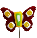 Butterfly, Red - Fused Glass Plant Stake by Glass Works Northwest