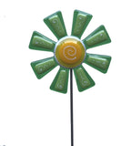 Flower, Green - Fused Glass Plant Stake by Glass Works Northwest