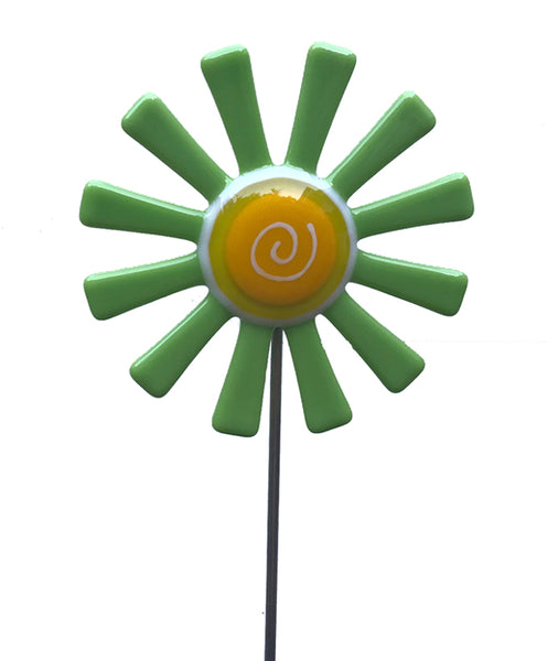 Flower Daisy, Green - Fused Glass Plant Stake by Glass Works Northwest