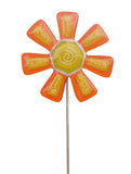 flower, Orange - Fused Glass Plant Stake by Glass Works Northwest