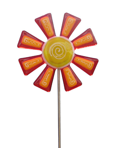 Flower, Red - Fused Glass Plant Stake by Glass Works Northwest