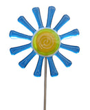 Flower Daisy, Blue - Fused Glass Plant Stake by Glass Works Northwest