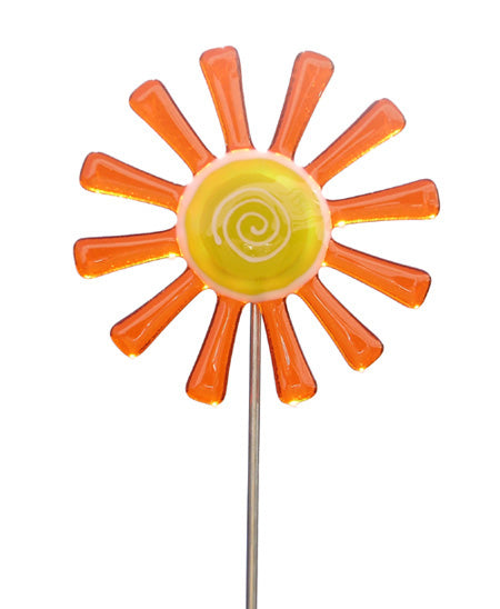 Flower Daisy, Orange - Fused Glass Plant Stake by Glass Works Northwest