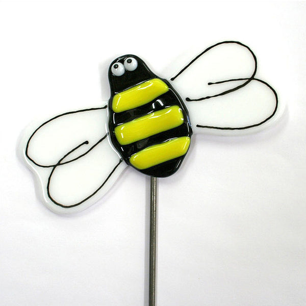 Bee - Fused Glass Plant Stake by Glass Works Northwest